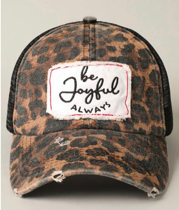 Be Joyful Patch Leopard Print Mesh Back Adjustable Baseball Cap
