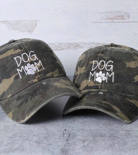 DOG MOM Camo Embroidered Cotton Baseball Caps