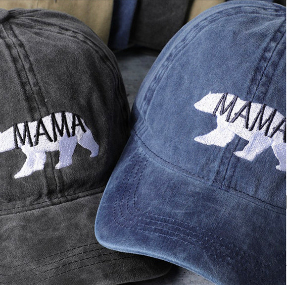Mama Embroidery Washed Cotton Baseball Cap