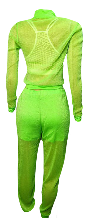 Neon Shimmery See Thru 2 Piece Set
