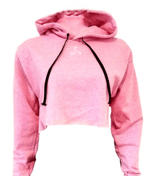 WOMEN'S CROP TOP LONG SLEEVE HOODIE- 3 COLOR OPTIONS