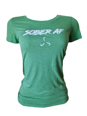 Women's SOBERAF Crew Neck Slim Fit Tee White Print - 7 Color Options