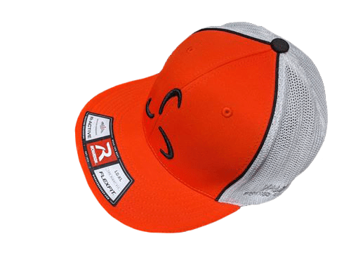 FlexFit Orange/White Front Logo - Valor Fitness Clothing
