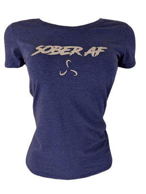 SoberAF Silver Print Women's Fitted Tee - 6 Color Options