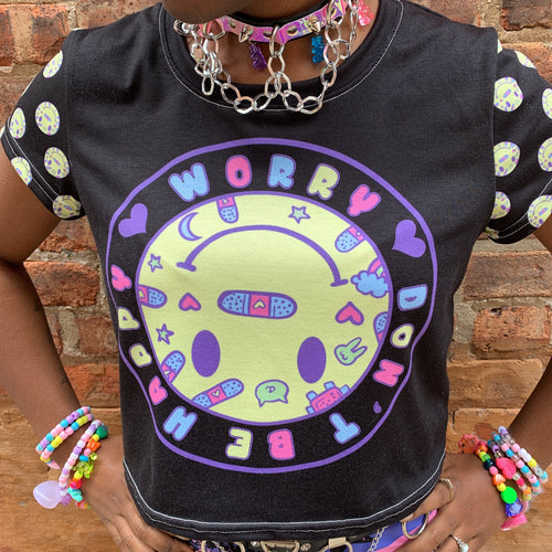 Worry, Don't Be Happy Crop Tee