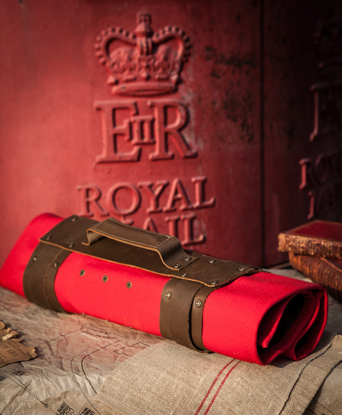 Red Canvas Knife Roll with leather trim