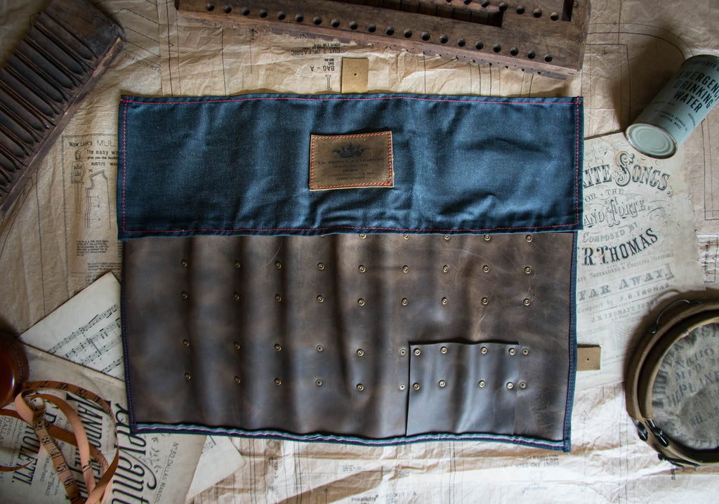 Denim selvage heavy-waxed kniferoll with leather blade pocket - LIMITED EDITION!!