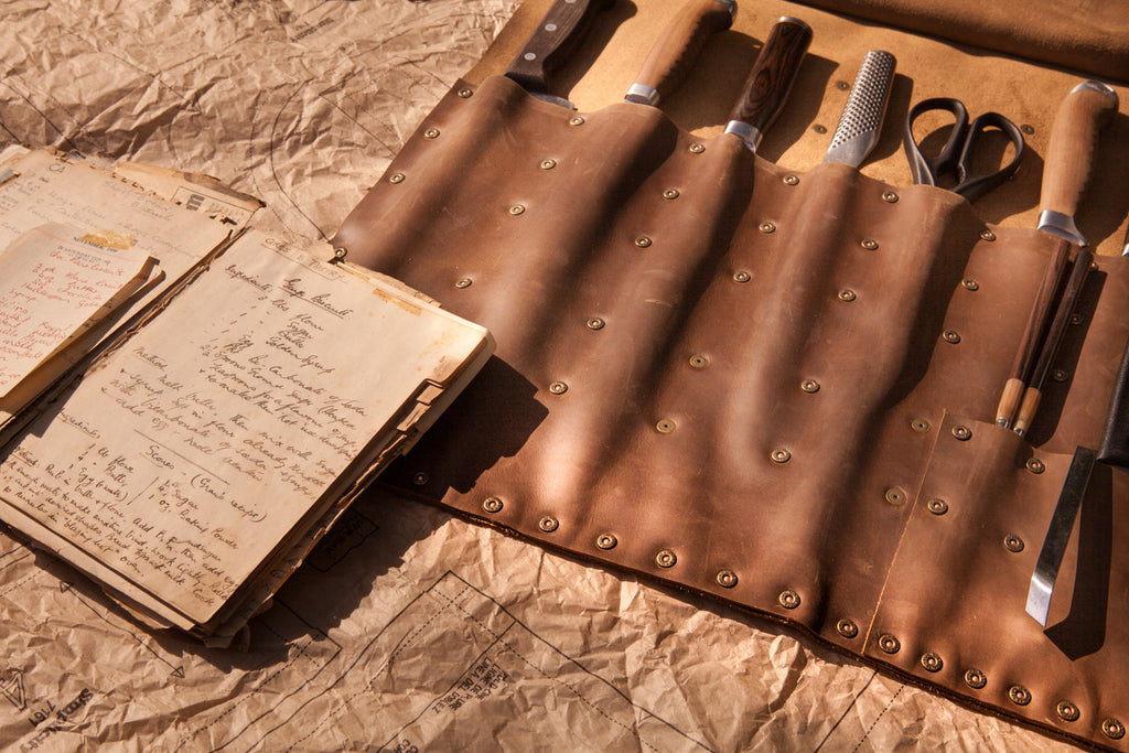 Brown Tan Full Leather Knife Roll