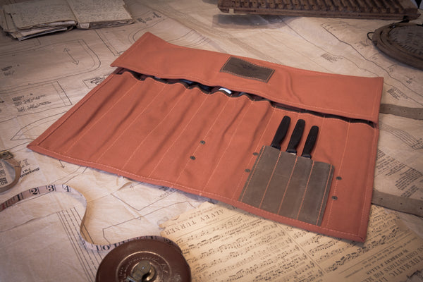 Terracotta canvas knife roll with leather trim