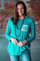 Turquoise with sequin pocket