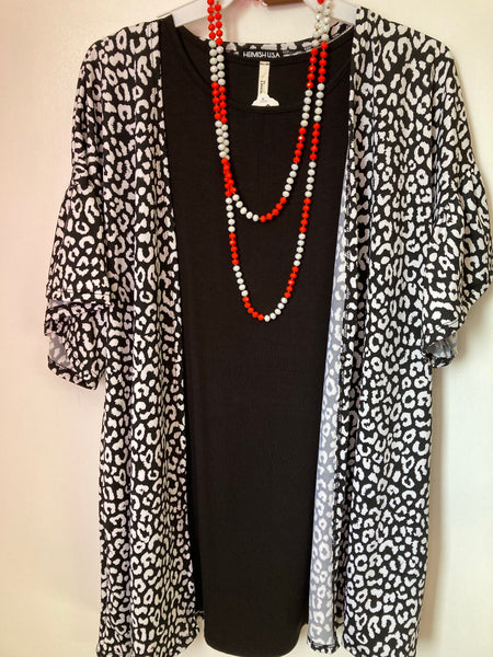 Black and white short sleeve cardigan