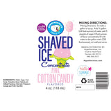 Label for snow cone syrup flavor concentrate pink cotton candy 4 Fl Oz