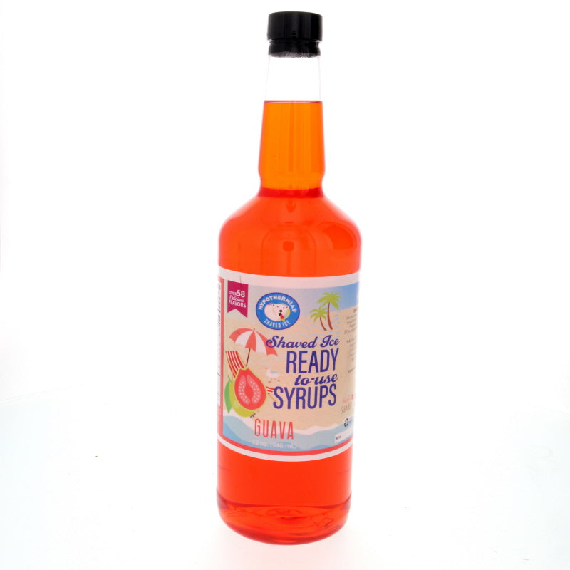 Quart of Guava Hawaiian shaved ice flavor syrup