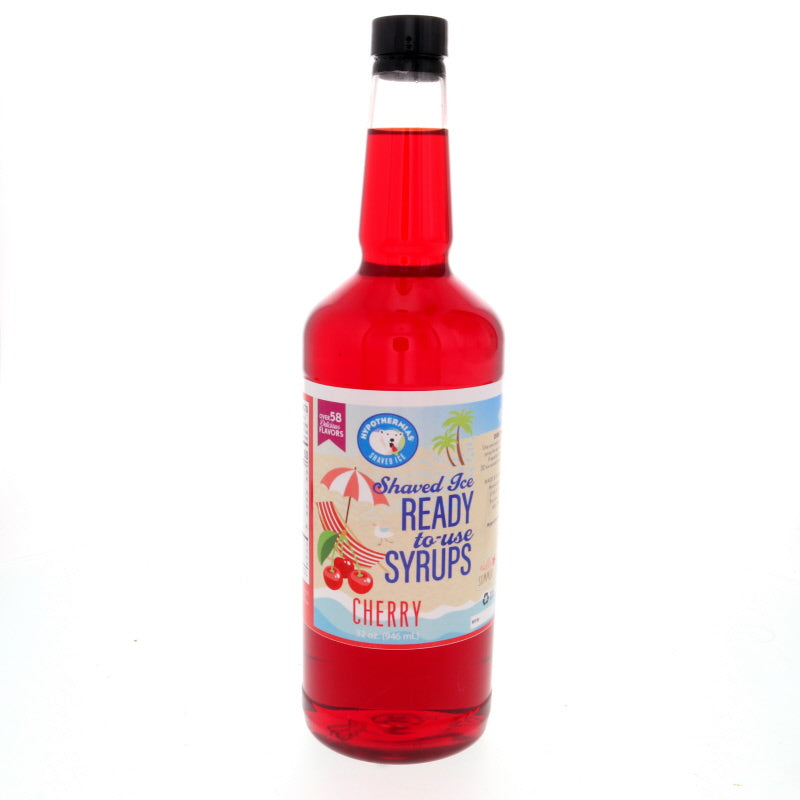 Quart of ready to use cherry shave ice syrup