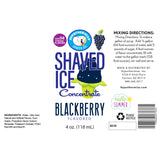 Label for 4 Fl Oz Blackberry shaved ice syrup concentrate