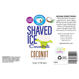 Label for shaved ice coconut flavor 4 Fl Oz
