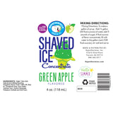 Shaved ice flavor concentrate 4 Fl Oz Green Apple label