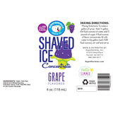 Label for grape shaved ice flavor concentrate 4 Fl Oz