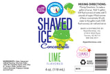 Label 4 Fl Oz shaved ice flavor concentrate lime