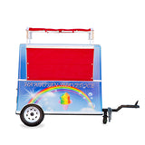 Shave ice cart with canvas closed trailer hitch attached