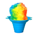 Shaved ice flower cup small 4 ounce blue with shave ice