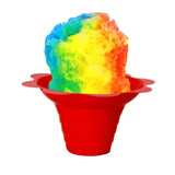 Shaved ice flower cup small 4 ounce purple with shave iceShaved ice flower cup small 4 ounce red with shave ice