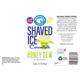 Honey Dew Hawaiian shave ice ingredient label concentrate 4 Fl Oz