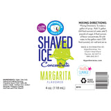 Label for Margarita shaved ice syrup concentrate 4 Fl Oz