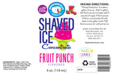 Ingredient label for fruit punch shaved ice concentrate 4 Fl Oz