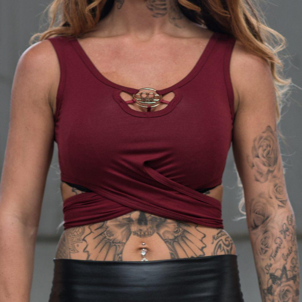 MVL knuckleduster crop top-Bordeaux red