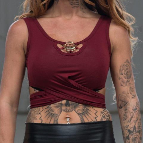 MVL knuckleduster crop top - Bordeaux red