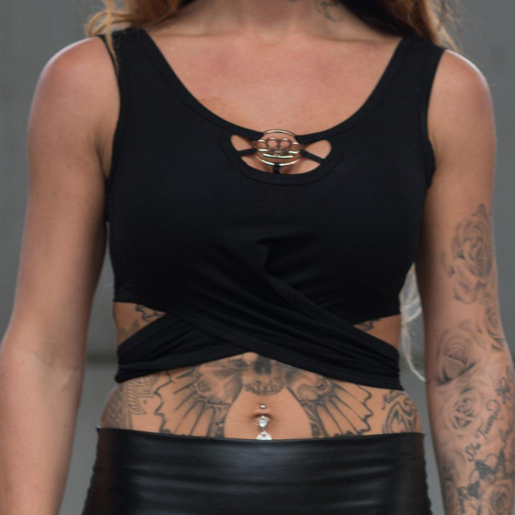 MVL knuckleduster crop top-Schwarz