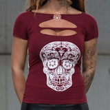 MVL knuckleduster skull top - bordeaux red