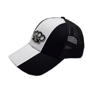"""Striped White"" Curved cap"