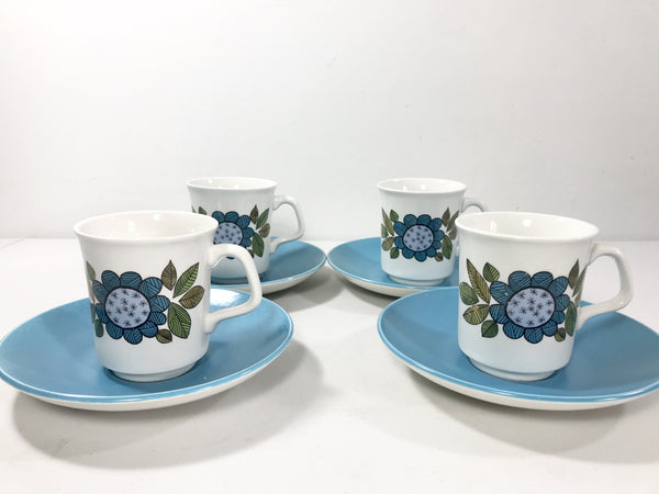 J&G Meakin Topic Espresso Coffee Cups Staffordshire Pottery Ceramic - Scandiwegians