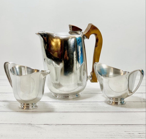 Picquot Ware Coffee Pot Hot Water Jug 1960s British Design Piquot Creamer Milk Tea Set
