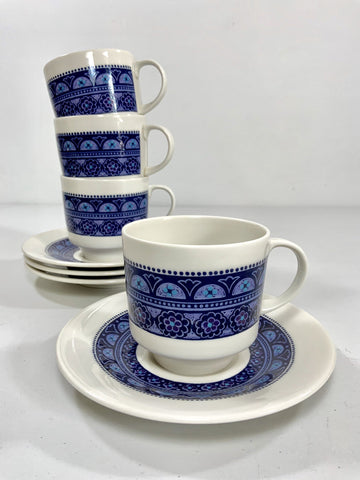 Royal Doulton Tea Cups Side Plates Teacups Blue English 1970s Babylon Vintage - Scandiwegians