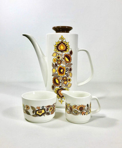 J&G Meakin Coffee Pot Milk Jug Sugar Bowl Bali Set Staffordshire Pottery Ceramic English - Scandiwegians