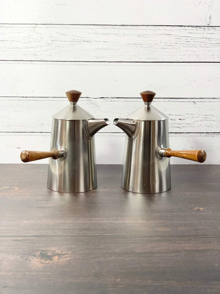 Robert Welch Old Hall Campden Coffee Pot Set English Retro Vintage Steel Teak Mens Dad Fathers Gift Present - Scandiwegians