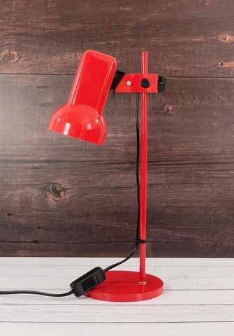 Vintage Danish Red Enamel Desk Office Lamp Retro Lights 1980s - Scandiwegians