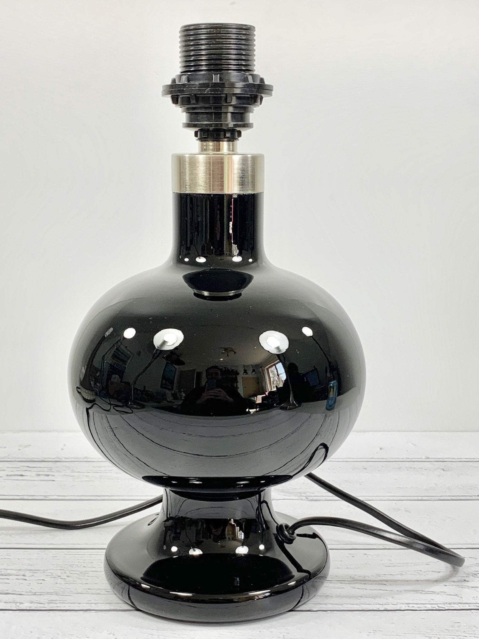 Holmegaard Royal Copenhagen Black Glass Table Lamp Danish Vintage Denmark Scandinavian Lighting Retro - Scandiwegians