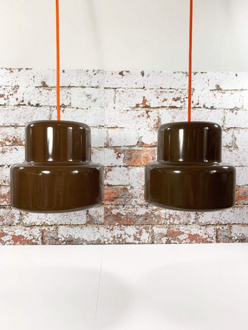 Fog and Morup Poker Mini Danish Enamel Pendant Lamps Brown Ceiling Light 1970s Retro Jo Hammerborg