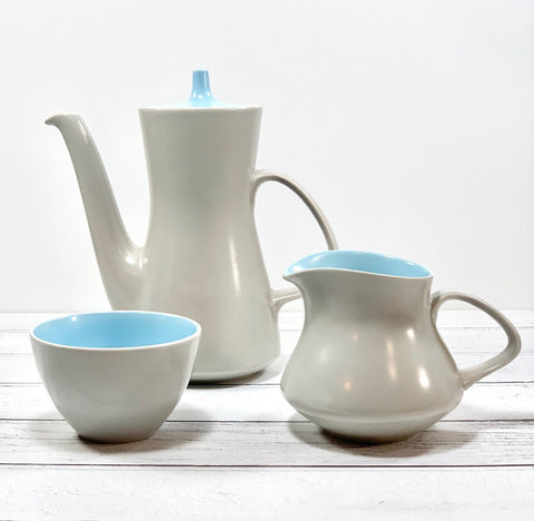 Poole Pottery Coffee Pot Set British English 1960s Twintone - Scandiwegians