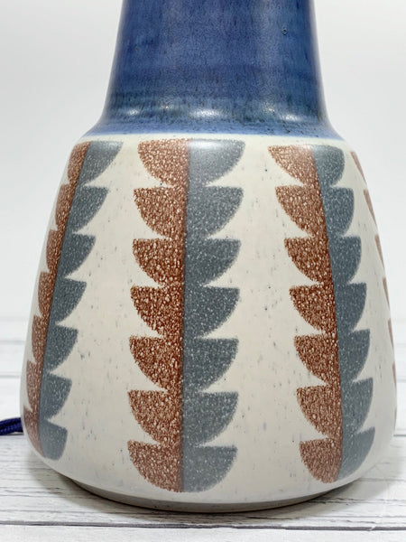 Vintage Soholm Pottery Blue Danish Ceramic Table Lamp Patterned