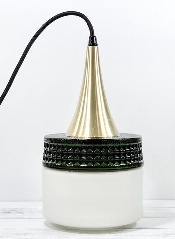Vintage Danish Olive Khaki Green Glass Pendant Lamp 1960s Swedish Lighting - Scandiwegians