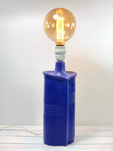 Soholm Pottery Danish Ceramic Blue Table Lamp Vintage Retro Asymetric - Scandiwegians