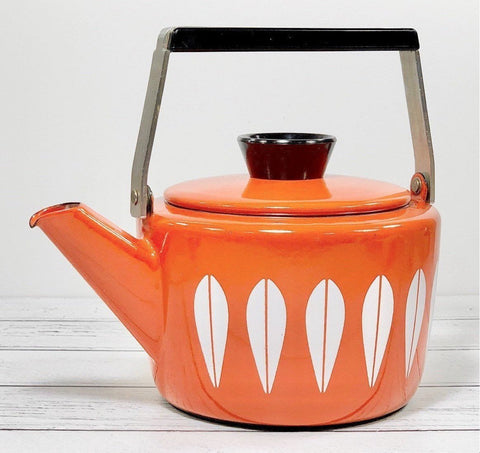 Cathrine Holm Orange Lotus Tea Kettle 1960s Enamel Norwegian Scandinavian Scandi Style Design - Scandiwegians