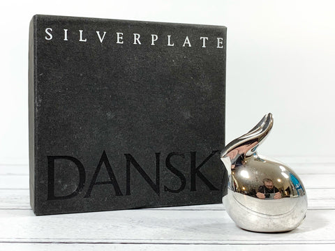 Dansk Silver Bunny Rabbit Paperweight Boxed Danish Designs Gifts Presents Retro