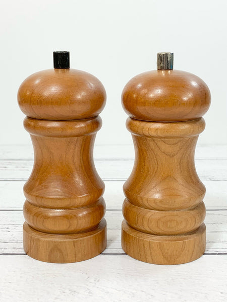 Vintage Danish Salt Pepper Mills Set Wood Retro Peugeot Grinder