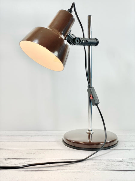 Vintage Danish Brown Enamel Desk Lamp Office Table Retro Lighting
